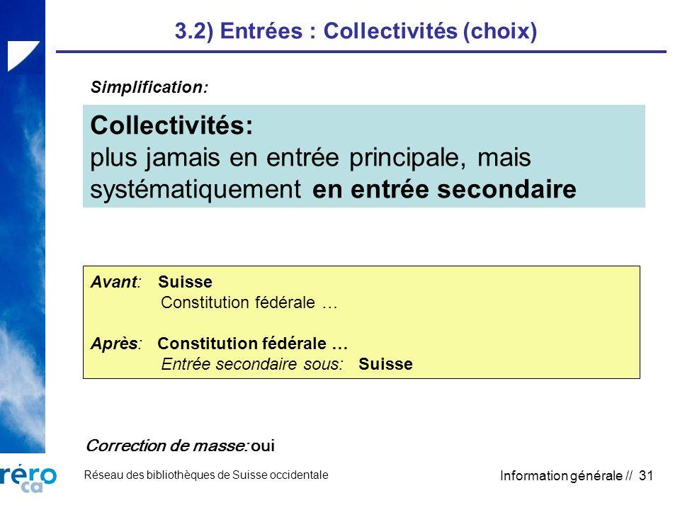 Réseau des bibliothèques de Suisse occidentale Information générale // 31 3.2) Entrées : Collectivités (choix) Collectivités: plus jamais en entrée pr