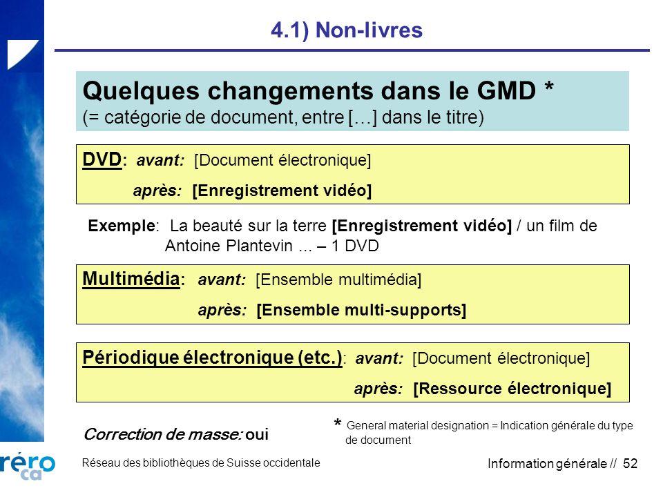 Réseau des bibliothèques de Suisse occidentale Information générale // 52 4.1) Non-livres Quelques changements dans le GMD * (= catégorie de document,
