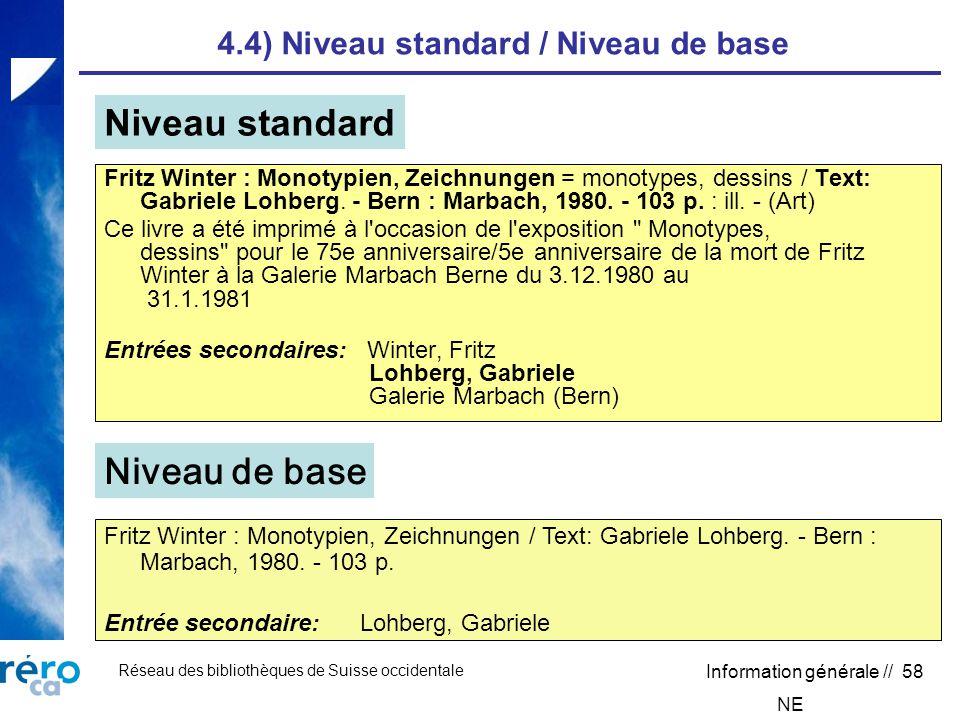 Réseau des bibliothèques de Suisse occidentale Information générale // 58 4.4) Niveau standard / Niveau de base Fritz Winter : Monotypien, Zeichnungen = monotypes, dessins / Text: Gabriele Lohberg.