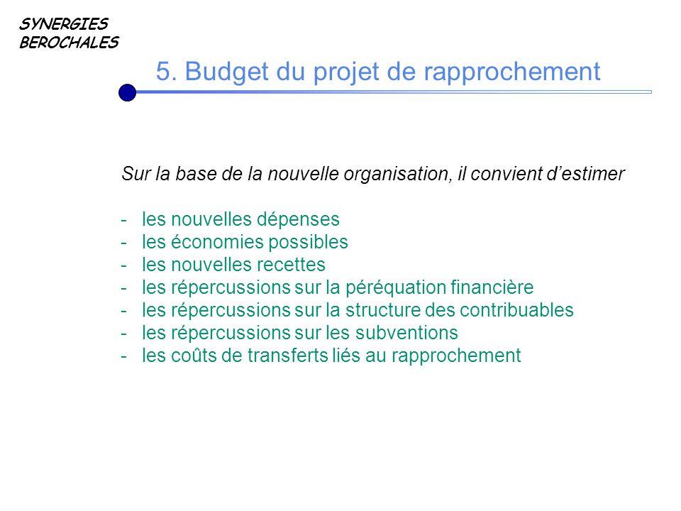 SYNERGIES BEROCHALES 5. Budget du projet de rapprochement Sur la base de la nouvelle organisation, il convient destimer -les nouvelles dépenses -les é