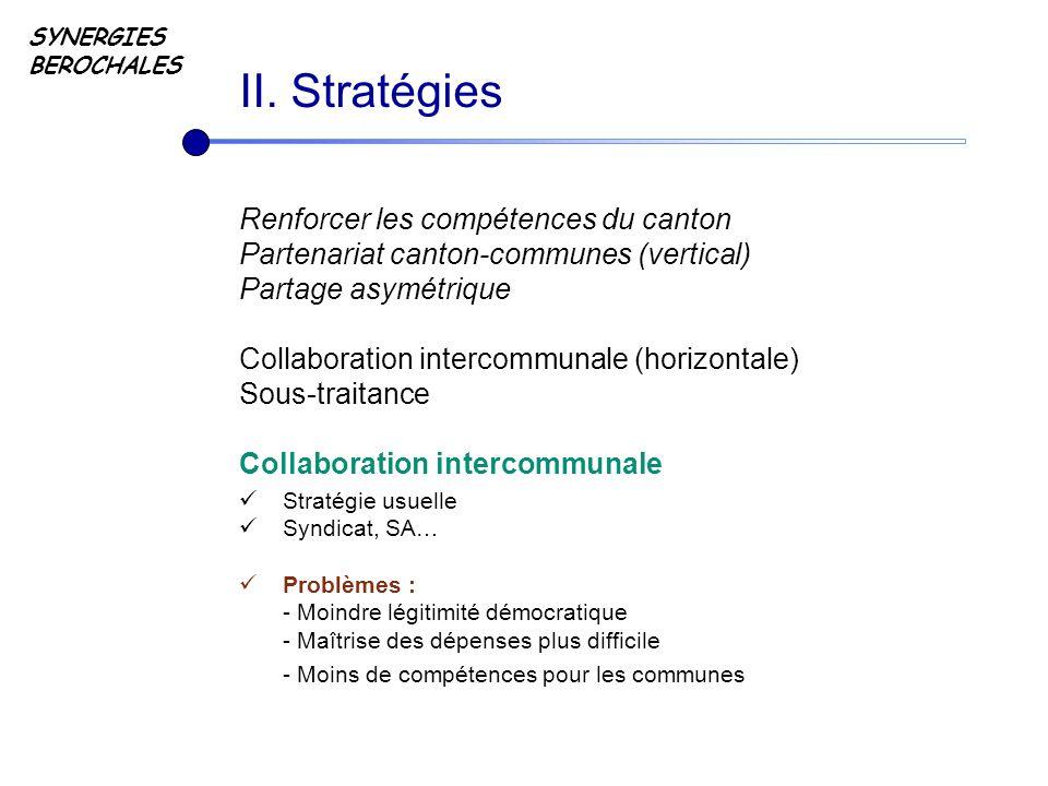 SYNERGIES BEROCHALES Renforcer les compétences du canton Partenariat canton-communes (vertical) Partage asymétrique Collaboration intercommunale (hori