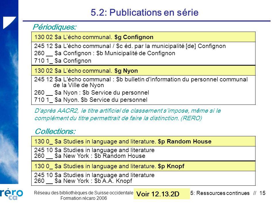 Réseau des bibliothèques de Suisse occidentale Formation récaro 2006 5: Ressources continues // 15 5.2: Publications en série 130 02 $a Lécho communal.