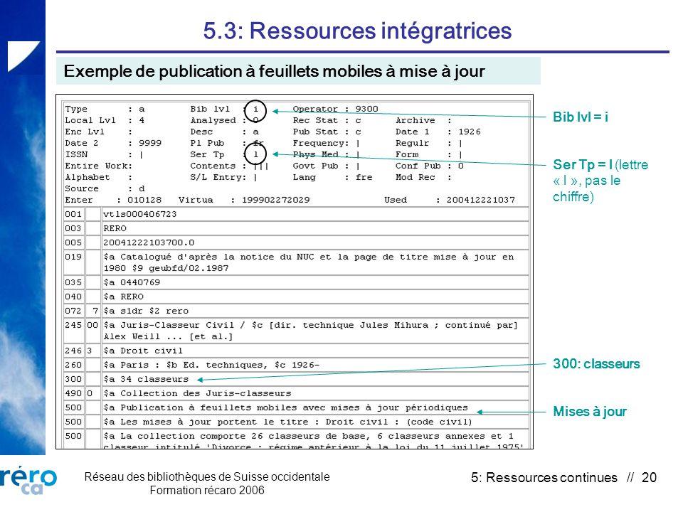 Réseau des bibliothèques de Suisse occidentale Formation récaro 2006 5: Ressources continues // 20 5.3: Ressources intégratrices Exemple de publication à feuillets mobiles à mise à jour Bib lvl = i Ser Tp = l (lettre « l », pas le chiffre) 300: classeurs Mises à jour