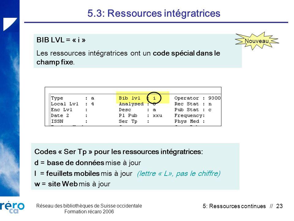 Réseau des bibliothèques de Suisse occidentale Formation récaro 2006 5: Ressources continues // 23 5.3: Ressources intégratrices BIB LVL = « i » Les ressources intégratrices ont un code spécial dans le champ fixe.