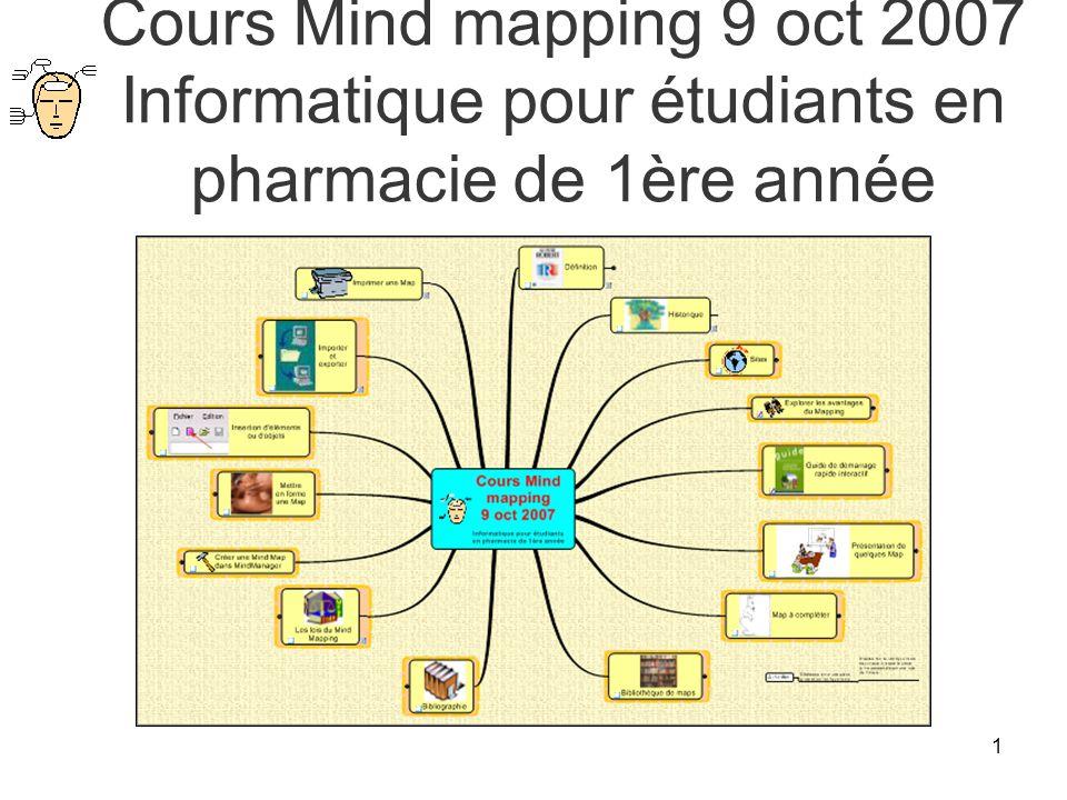 1 Cours Mind mapping 9 oct 2007 Informatique pour étudiants en pharmacie de 1ère année