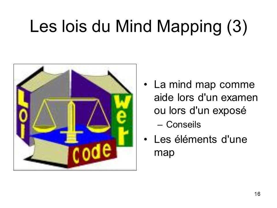 16 Les lois du Mind Mapping (3) La mind map comme aide lors d'un examen ou lors d'un exposé –Conseils Les éléments d'une map