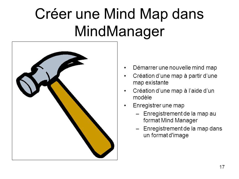 17 Créer une Mind Map dans MindManager Démarrer une nouvelle mind map Création dune map à partir dune map existante Création dune map à laide dun modè