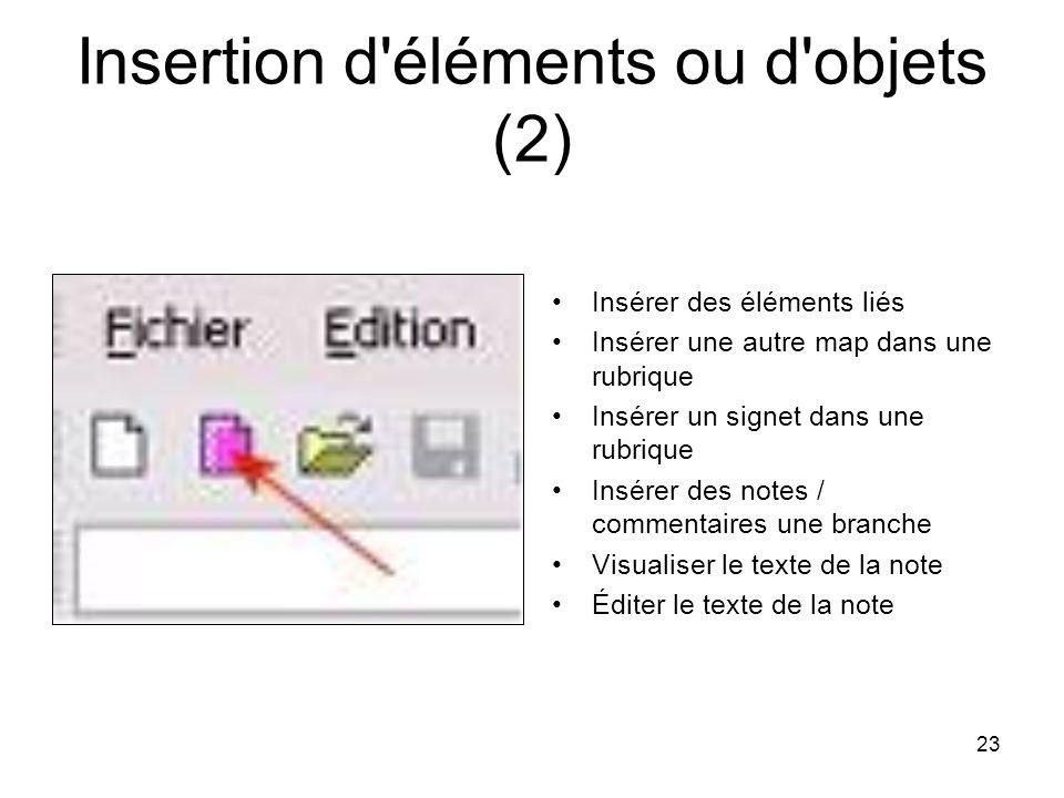 23 Insertion d'éléments ou d'objets (2) Insérer des éléments liés Insérer une autre map dans une rubrique Insérer un signet dans une rubrique Insérer