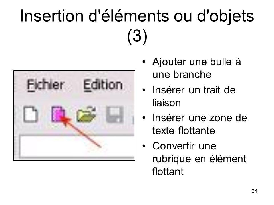 24 Insertion d'éléments ou d'objets (3) Ajouter une bulle à une branche Insérer un trait de liaison Insérer une zone de texte flottante Convertir une