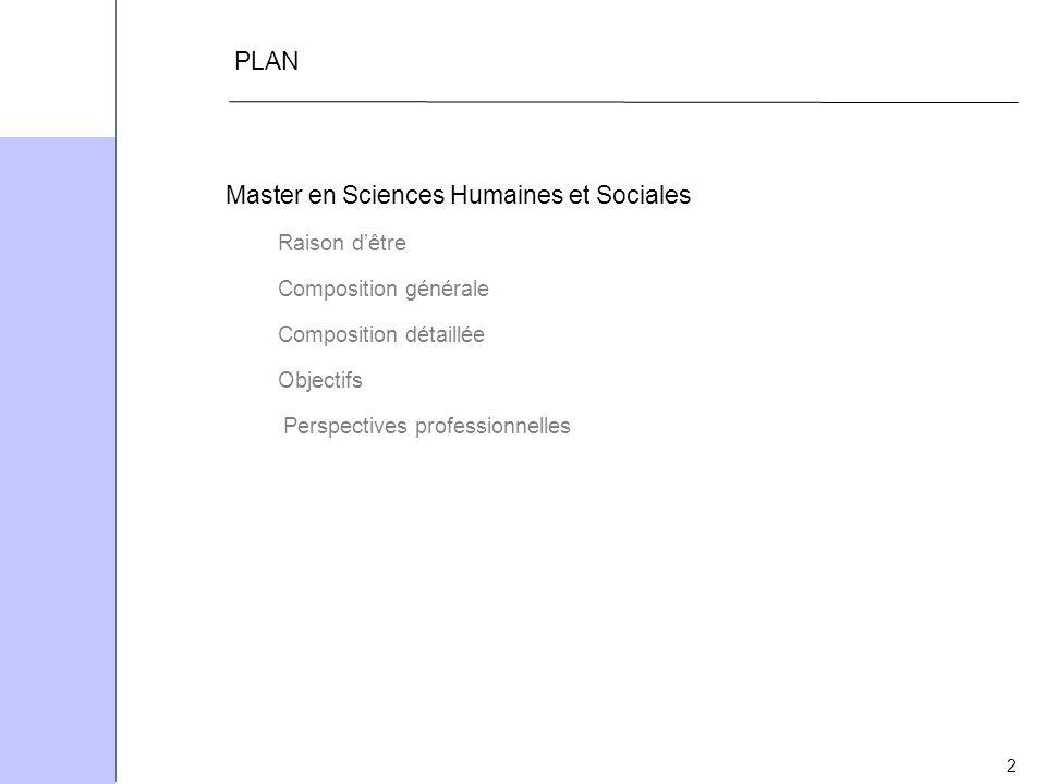 2 PLAN Master en Sciences Humaines et Sociales Raison dêtre Composition générale Composition détaillée Objectifs Perspectives professionnelles