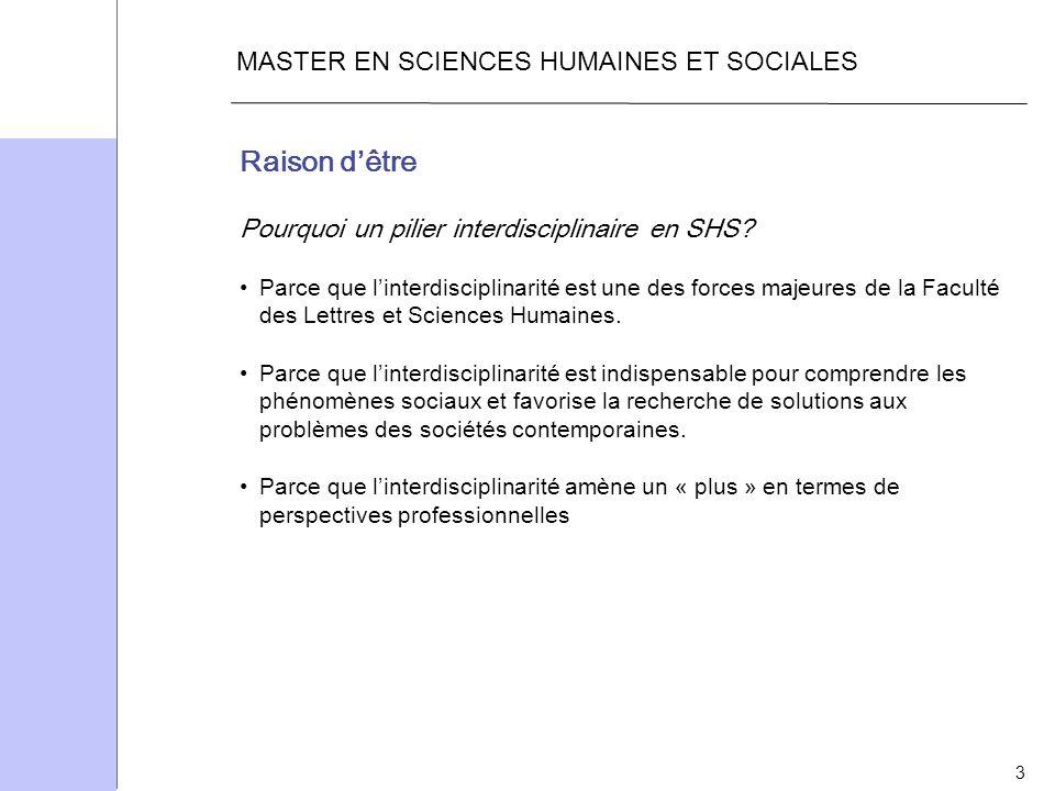 3 MASTER EN SCIENCES HUMAINES ET SOCIALES Raison dêtre Pourquoi un pilier interdisciplinaire en SHS? Parce que linterdisciplinarité est une des forces