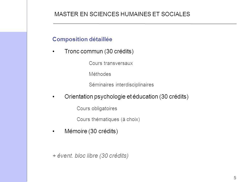 5 MASTER EN SCIENCES HUMAINES ET SOCIALES Composition détaillée Tronc commun (30 crédits) Cours transversaux Méthodes Séminaires interdisciplinaires O