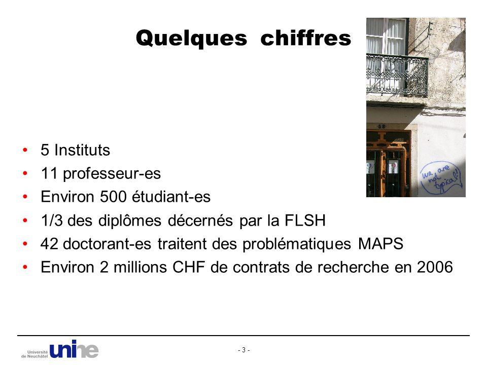 - 3 - Quelques chiffres 5 Instituts 11 professeur-es Environ 500 étudiant-es 1/3 des diplômes décernés par la FLSH 42 doctorant-es traitent des problématiques MAPS Environ 2 millions CHF de contrats de recherche en 2006