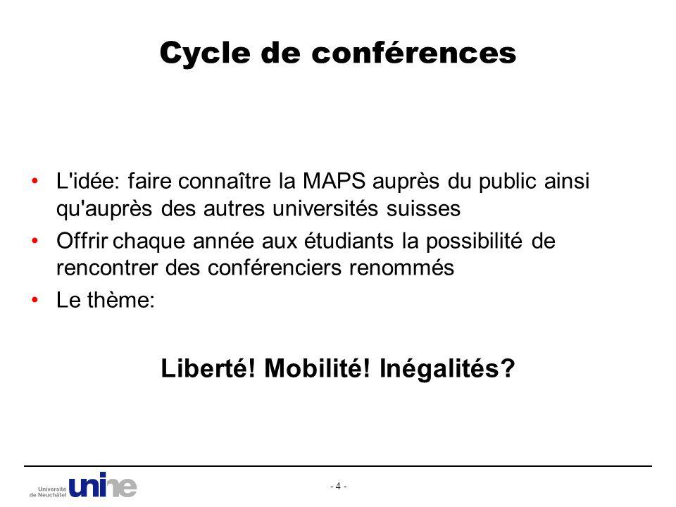 - 4 - Cycle de conférences L idée: faire connaître la MAPS auprès du public ainsi qu auprès des autres universités suisses Offrir chaque année aux étudiants la possibilité de rencontrer des conférenciers renommés Le thème: Liberté.