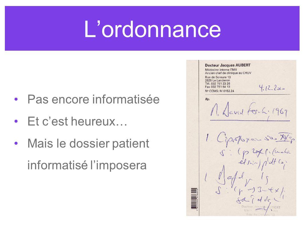 Lordonnance Pas encore informatisée Et cest heureux… Mais le dossier patient informatisé limposera