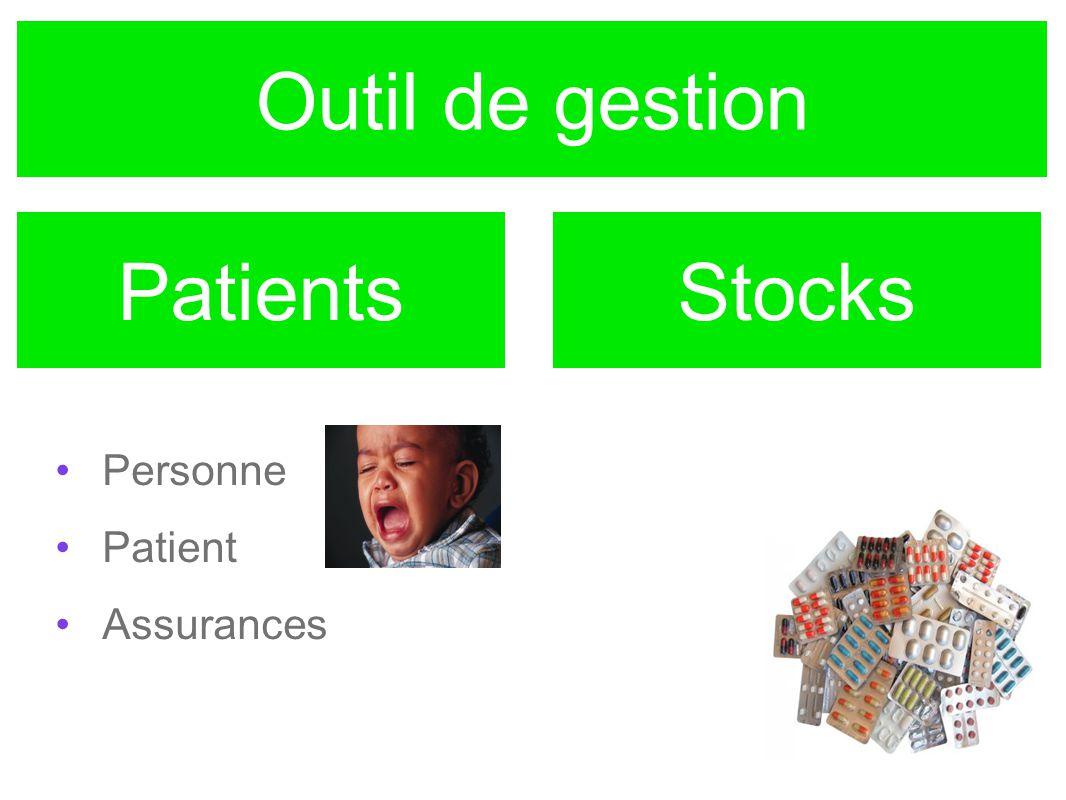 Outil de gestion Personne Patient Assurances PatientsStocks