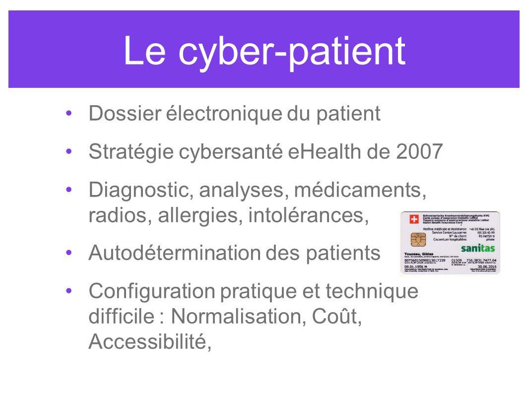 Le cyber-patient Dossier électronique du patient Stratégie cybersanté eHealth de 2007 Diagnostic, analyses, médicaments, radios, allergies, intoléranc