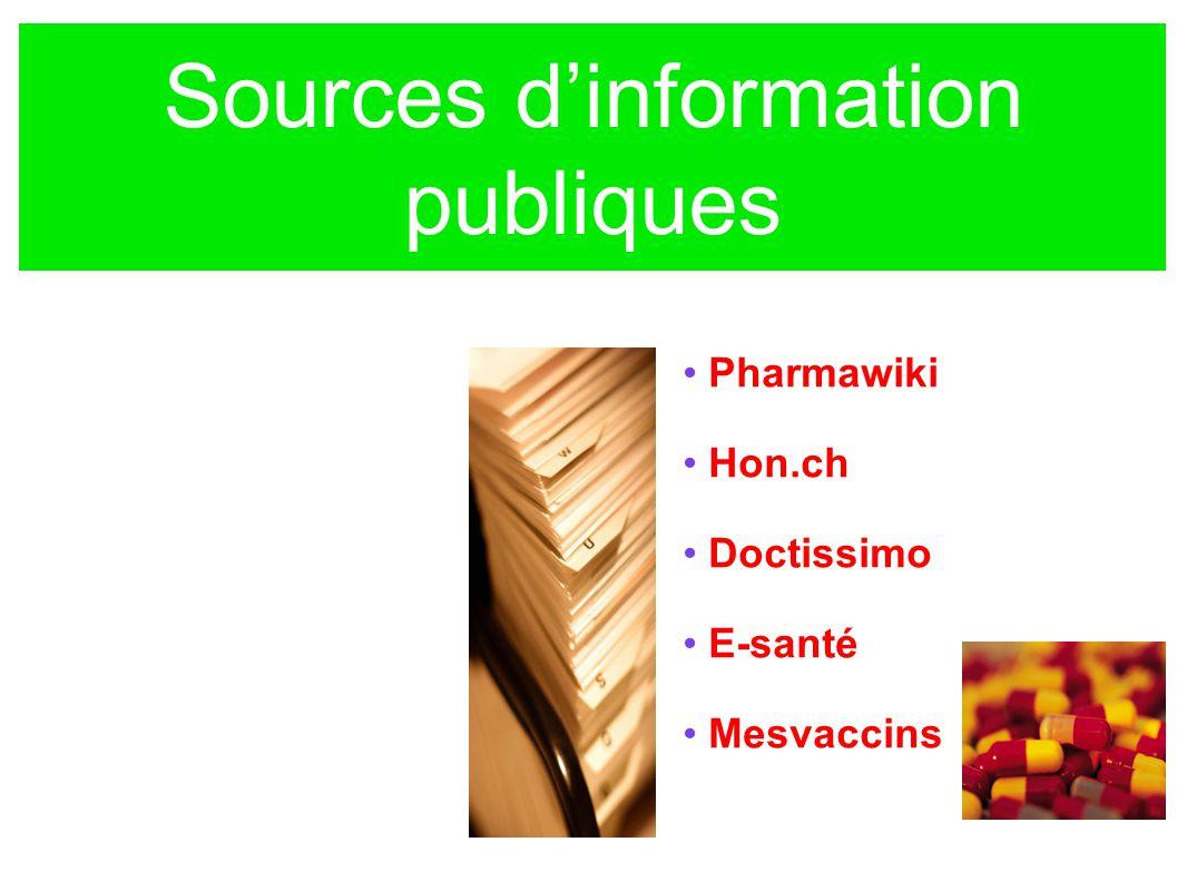 Sources dinformation publiques Pharmawiki Hon.ch Doctissimo E-santé Mesvaccins