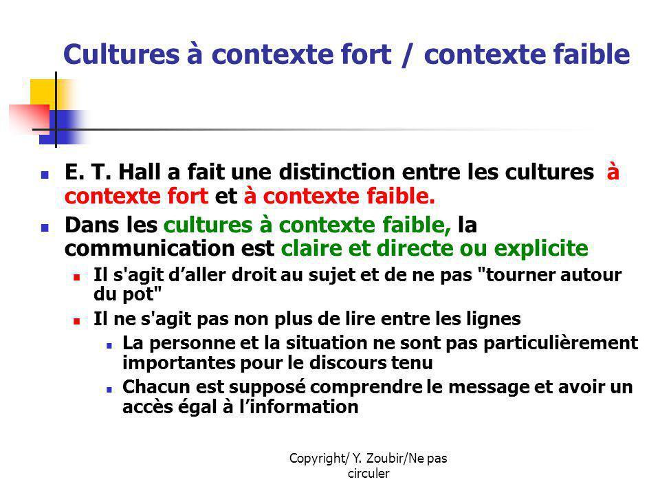 Copyright/ Y. Zoubir/Ne pas circuler Cultures à contexte fort / contexte faible E. T. Hall a fait une distinction entre les cultures à contexte fort e