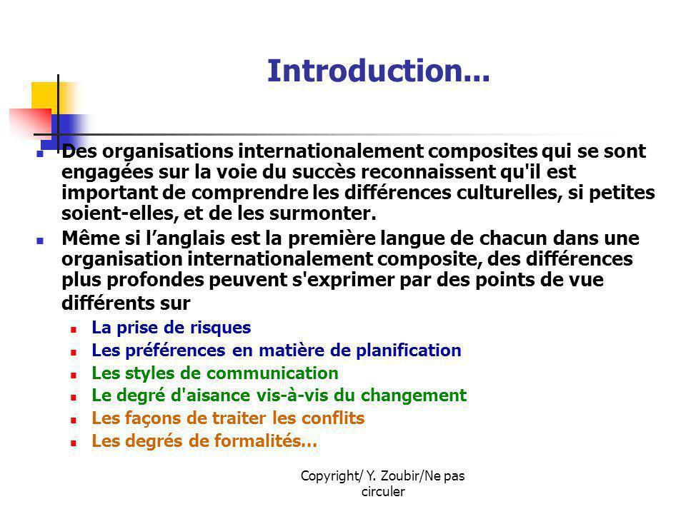 Copyright/ Y. Zoubir/Ne pas circuler Introduction... Des organisations internationalement composites qui se sont engagées sur la voie du succès reconn