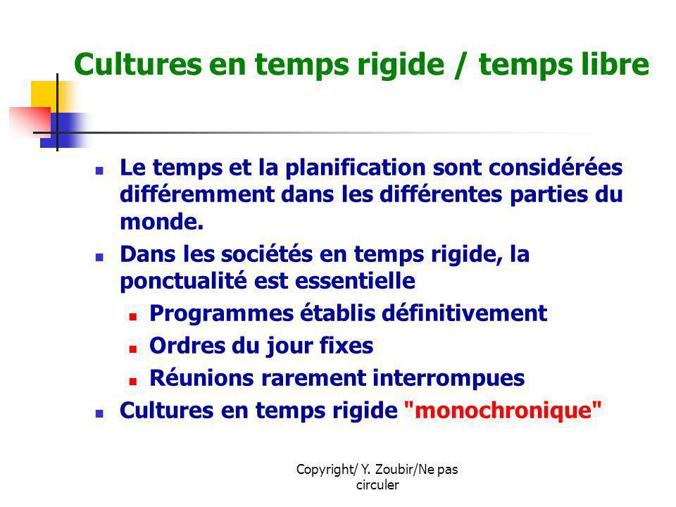 Copyright/ Y. Zoubir/Ne pas circuler Cultures en temps rigide / temps libre Le temps et la planification sont considérées différemment dans les différ
