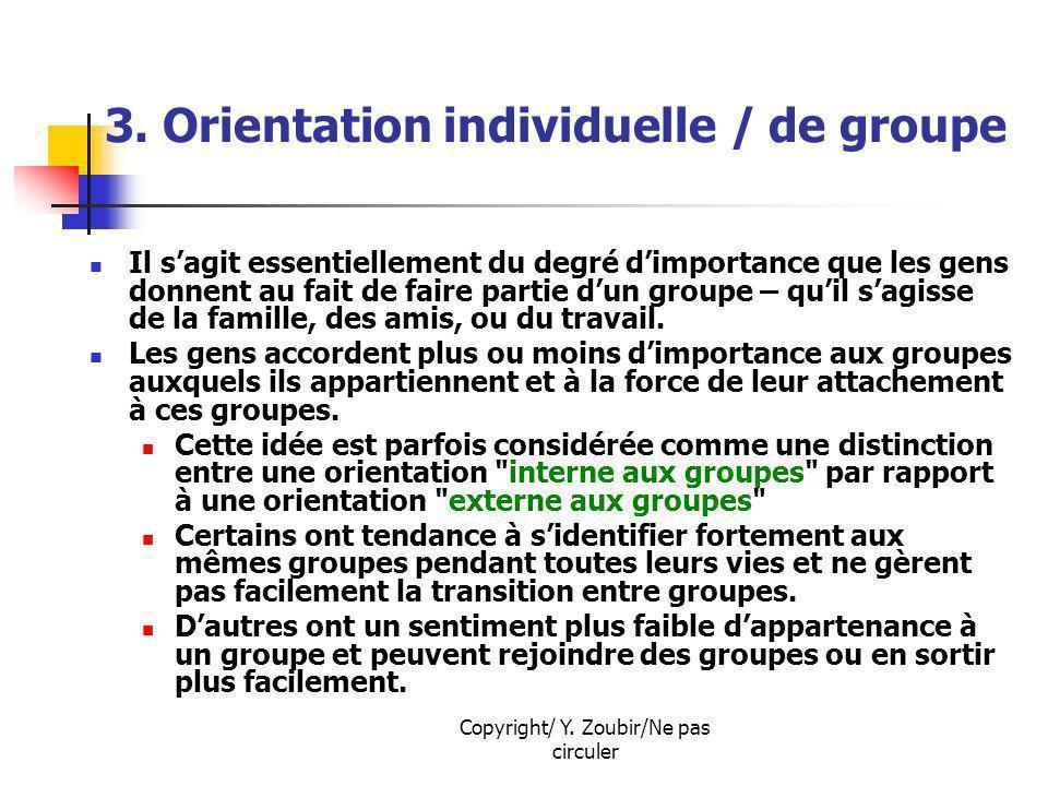 Copyright/ Y. Zoubir/Ne pas circuler 3. Orientation individuelle / de groupe Il sagit essentiellement du degré dimportance que les gens donnent au fai