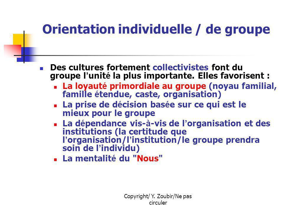 Copyright/ Y. Zoubir/Ne pas circuler Orientation individuelle / de groupe Des cultures fortement collectivistes font du groupe l unit é la plus import