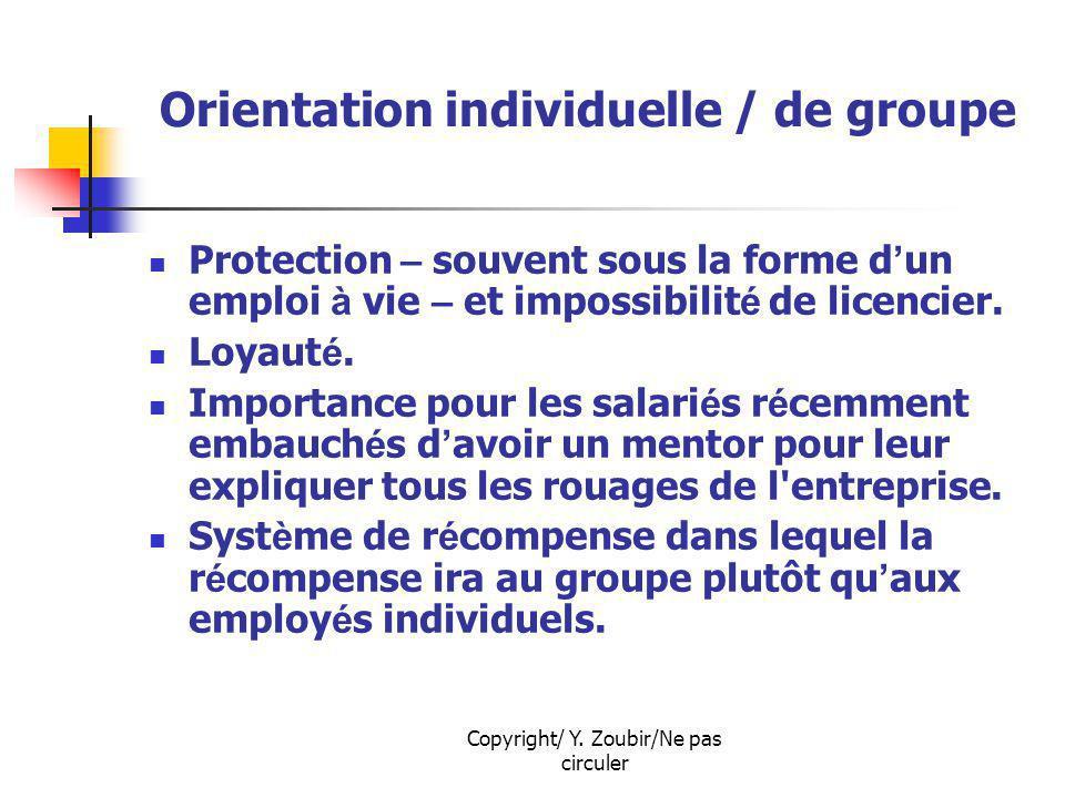 Copyright/ Y. Zoubir/Ne pas circuler Orientation individuelle / de groupe Protection – souvent sous la forme d un emploi à vie – et impossibilit é de