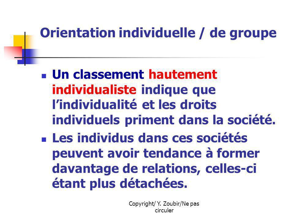 Copyright/ Y. Zoubir/Ne pas circuler Orientation individuelle / de groupe Un classement hautement individualiste indique que lindividualité et les dro