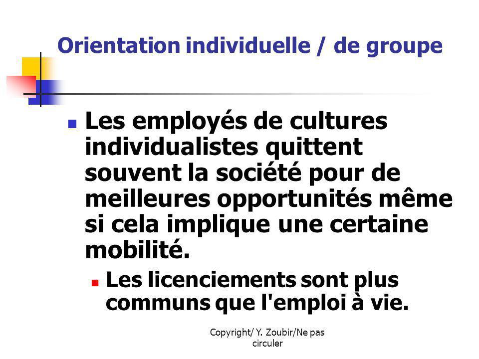 Copyright/ Y. Zoubir/Ne pas circuler Orientation individuelle / de groupe Les employés de cultures individualistes quittent souvent la société pour de