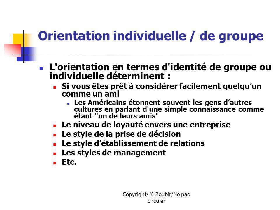Copyright/ Y. Zoubir/Ne pas circuler Orientation individuelle / de groupe L'orientation en termes d'identité de groupe ou individuelle déterminent : S