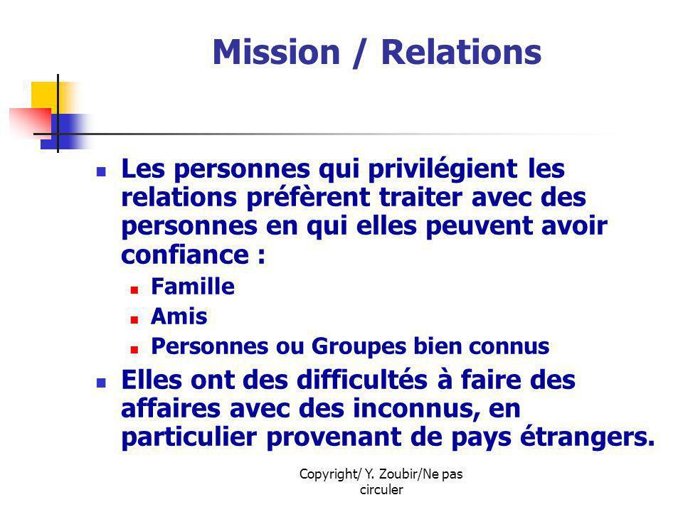 Copyright/ Y. Zoubir/Ne pas circuler Mission / Relations Les personnes qui privilégient les relations préfèrent traiter avec des personnes en qui elle