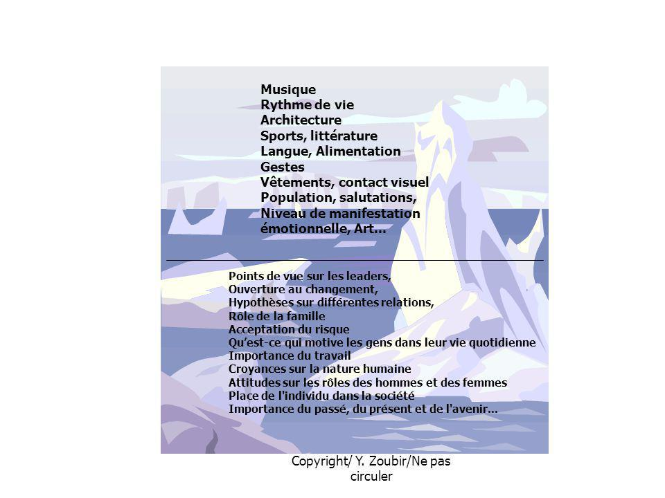 Copyright/ Y. Zoubir/Ne pas circuler Musique Rythme de vie Architecture Sports, littérature Langue, Alimentation Gestes Vêtements, contact visuel Popu