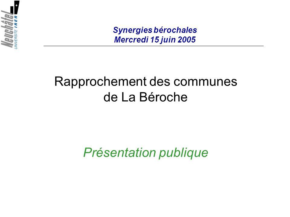 Synergies bérochales Mercredi 15 juin 2005 Rapprochement des communes de La Béroche Présentation publique