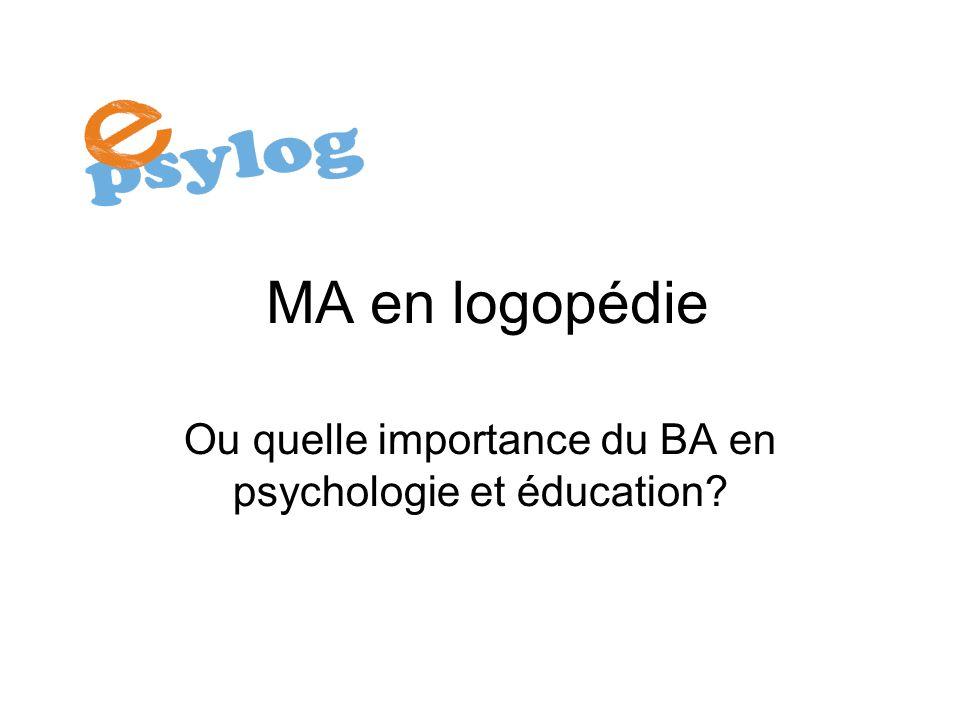 MA en logopédie Ou quelle importance du BA en psychologie et éducation?