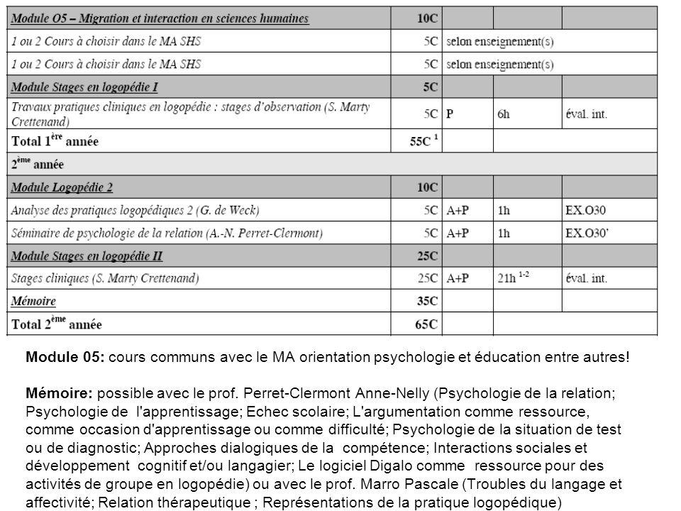 Module 05: cours communs avec le MA orientation psychologie et éducation entre autres! Mémoire: possible avec le prof. Perret-Clermont Anne-Nelly (Psy
