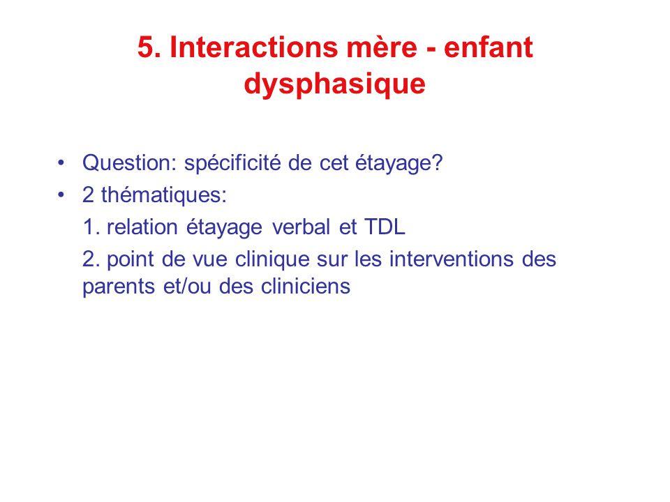 5. Interactions mère - enfant dysphasique Question: spécificité de cet étayage.