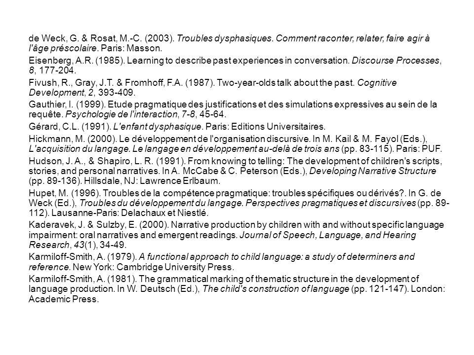 de Weck, G. & Rosat, M.-C. (2003). Troubles dysphasiques.