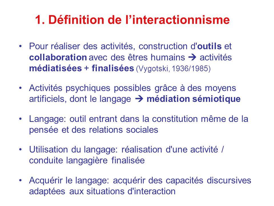 1. Définition de linteractionnisme Pour réaliser des activités, construction d'outils et collaboration avec des êtres humains activités médiatisées +