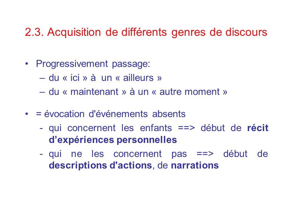 2.3. Acquisition de différents genres de discours Progressivement passage: –du « ici » à un « ailleurs » –du « maintenant » à un « autre moment » = év