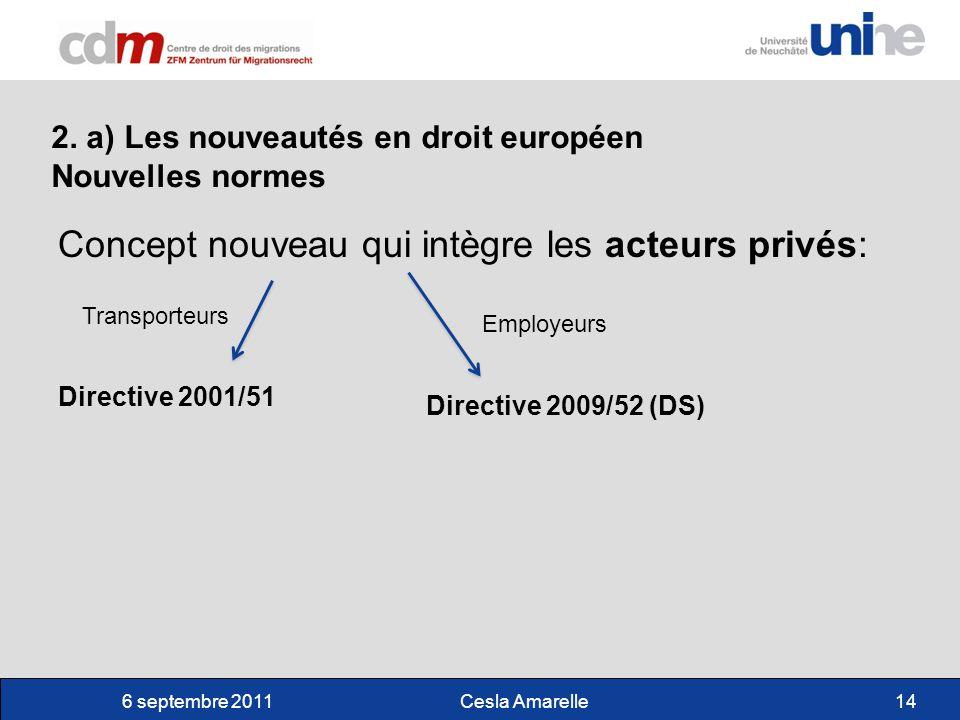 6 septembre 2011Cesla Amarelle14 2. a) Les nouveautés en droit européen Nouvelles normes Concept nouveau qui intègre les acteurs privés: Directive 200