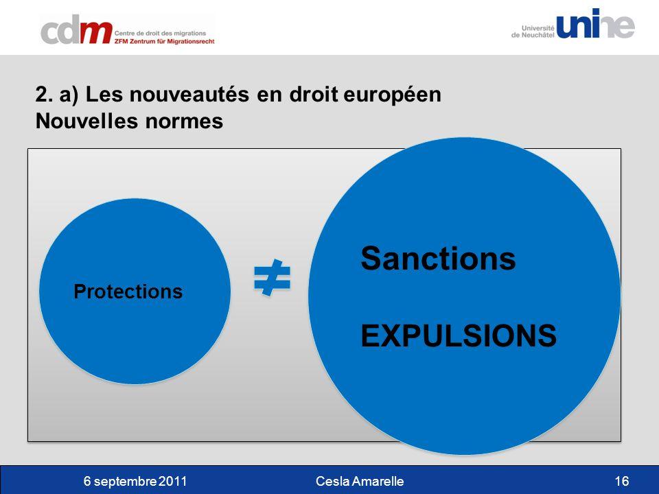 6 septembre 2011Cesla Amarelle16 2. a) Les nouveautés en droit européen Nouvelles normes Sanctions EXPULSIONS Sanctions EXPULSIONS Protections