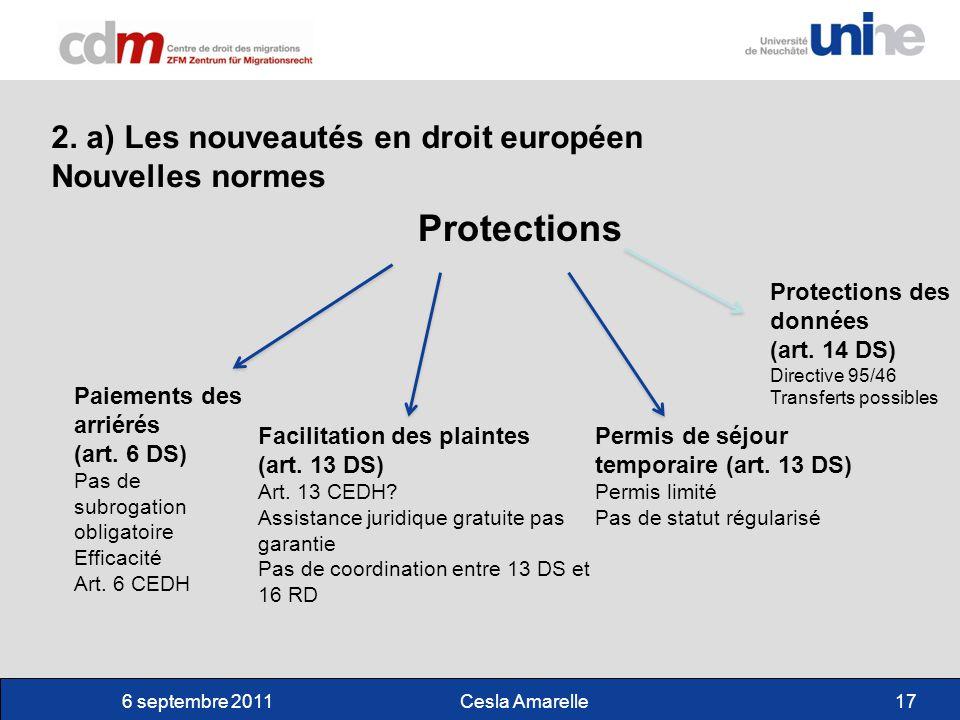 6 septembre 2011Cesla Amarelle17 2. a) Les nouveautés en droit européen Nouvelles normes Protections Facilitation des plaintes (art. 13 DS) Art. 13 CE