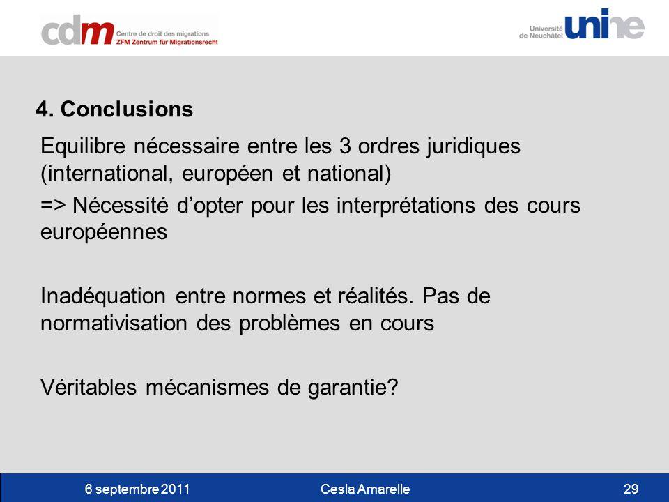 6 septembre 2011Cesla Amarelle29 4. Conclusions Equilibre nécessaire entre les 3 ordres juridiques (international, européen et national) => Nécessité