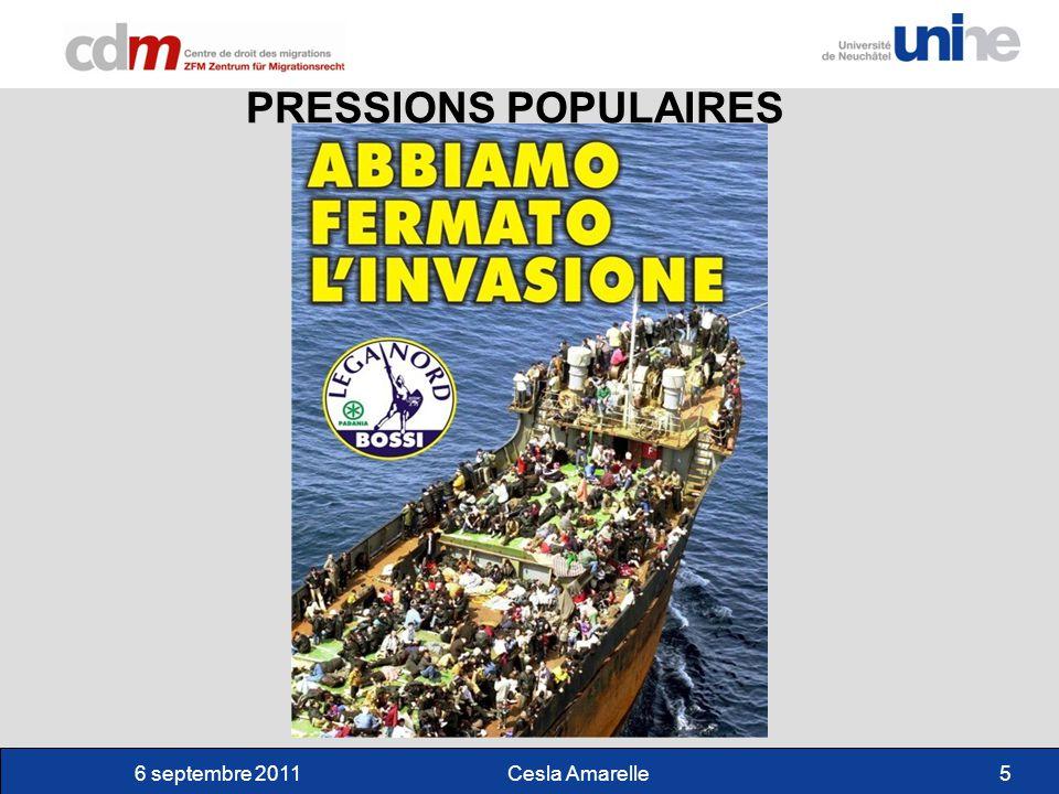 6 septembre 2011Cesla Amarelle6 TENSIONS POLITIQUES