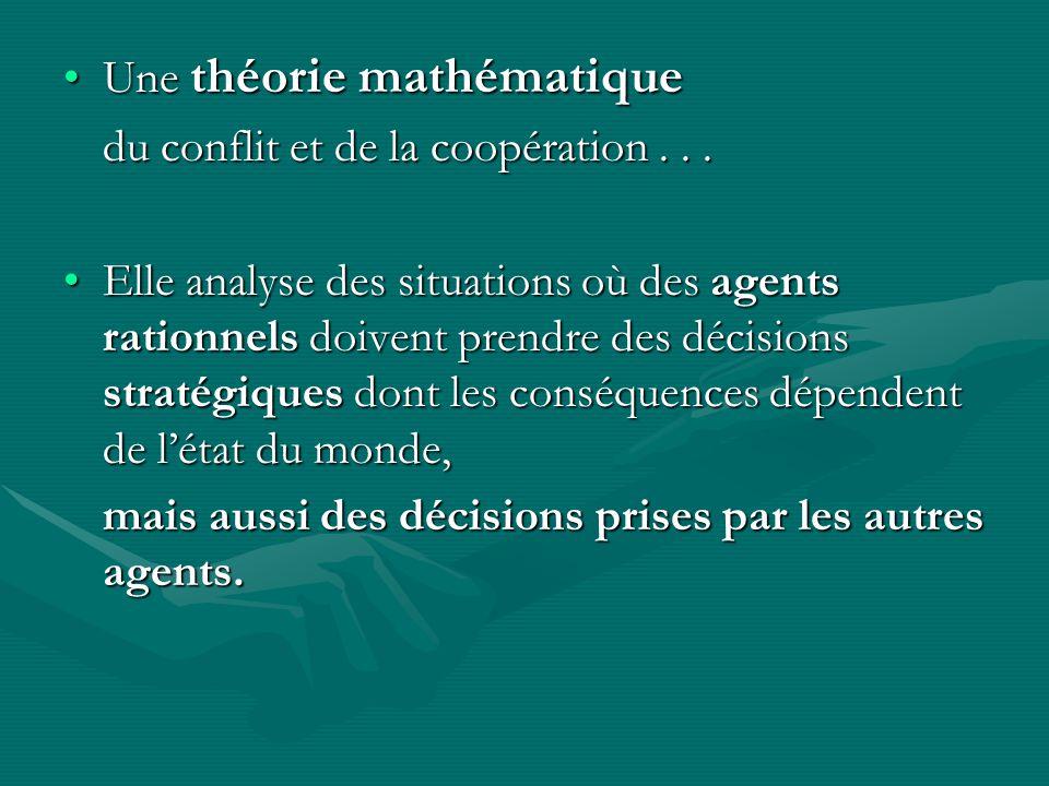 Une théorie mathématiqueUne théorie mathématique du conflit et de la coopération...