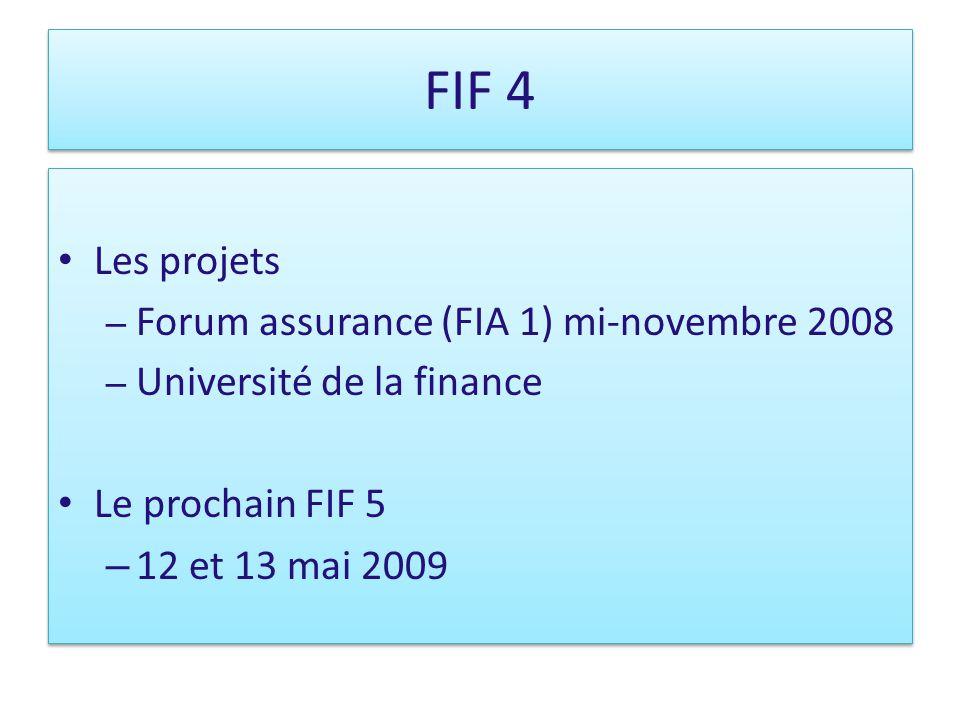 FIF 4 Les projets – Forum assurance (FIA 1) mi-novembre 2008 – Université de la finance Le prochain FIF 5 – 12 et 13 mai 2009 Les projets – Forum assurance (FIA 1) mi-novembre 2008 – Université de la finance Le prochain FIF 5 – 12 et 13 mai 2009