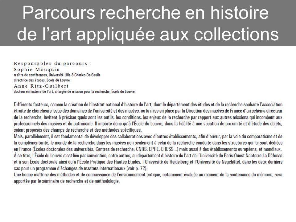 Parcours recherche en histoire de lart appliquée aux collections