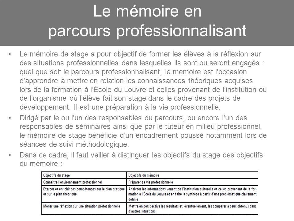 Le mémoire en parcours professionnalisant Le mémoire de stage a pour objectif de former les élèves à la réflexion sur des situations professionnelles