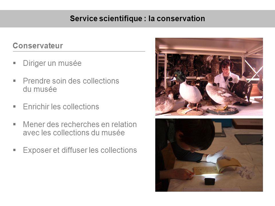 Service scientifique : la conservation Conservateur Diriger un musée Prendre soin des collections du musée Enrichir les collections Mener des recherch